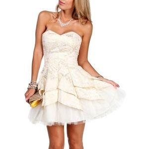 Masquerade White Gold Strapless Homecoming Dress